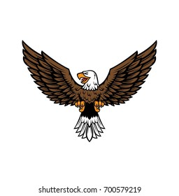 Eagle with Straightened wings vector illustration on white background