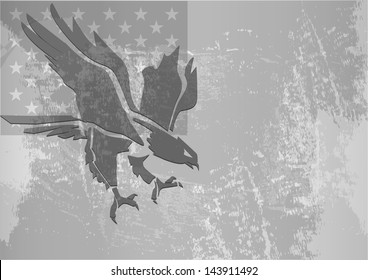 Eagle stylized with grunge flag in background