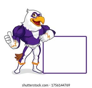 Eagle superhero mascot cartoon in vector