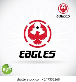 Eagle Symbol Illustration, Sign, Button, Badge, Icon, Logo for Family, Baby, Children, Teenager, People, Tattoo