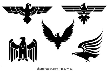 Eagle symbol isolated on white for tattoo design - also as emblem or logo template. Jpeg version is also available