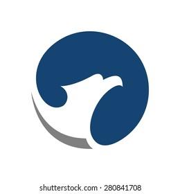 Eagle symbol vector template. Creative logo design concept with artistic and simplified bird. Unique falcon illustration icon.