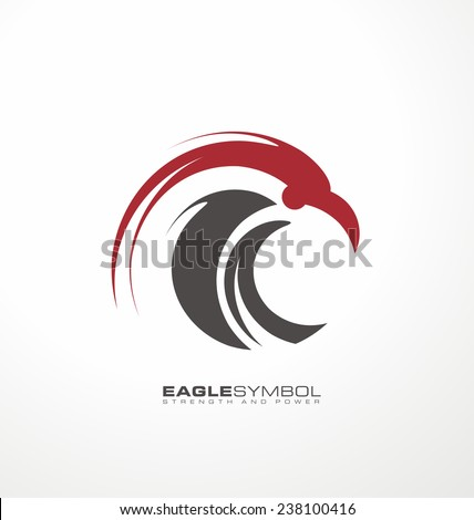 Eagle symbol vector template. Creative logo design concept with artistic and simplified bird. Unique falcon illustration icon.
