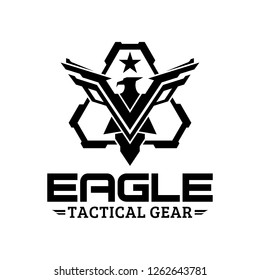 Eagle tactical triangle gear vector logo design illustration template