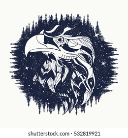 Eagle tattoo art, falcon in night forest, symbol travel and tourism. Ethnic hawk tattoo, t-shirt design, tribal style
