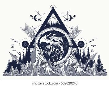 Eagle tattoo art, mountains, crossed arrows, forest. Astrological symbols, ethnic style, falcon in rocks, creative t-shirt design, spirituality, boho, magic symbol