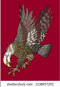 Eagle tattoo isolate vector.Hand drawn traditional Japanese Eagle.Native American Eagle attacking.Old-school tattoo design.