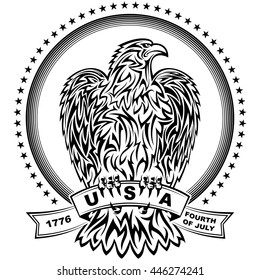 The eagle in Tattoo Tribal style with stars and stripes for design of the Independence Day of the United States on 4th July; Vetor bird of prey Eps8