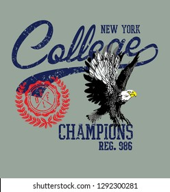Eagle team college style vector art