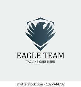 Eagle team logo design concept. Eagle shield logo. Vector illustration