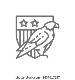 Eagle with USA shield, coat of arms of America line icon.