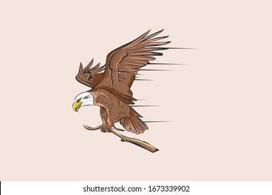 eagle vector attached to a tree branch