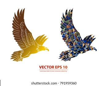 Eagle vector icon gold. Abstracts vector icon on background. Vector illustration EPS 10 .