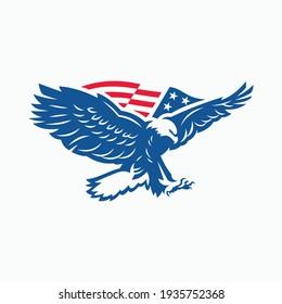 eagle vector logo with flag