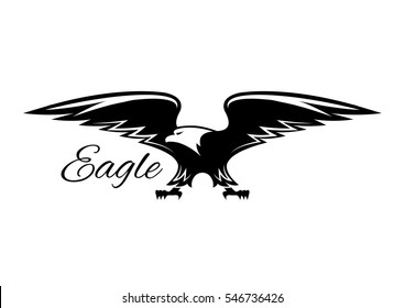 Eagle vector symbol of black griffin, falcon or hawk. Heraldic icon of predatory bird with spread wings and catching claws for sport team mascot, military, security or guard emblem for armory shield