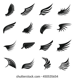 Eagle wing icons set in simple ctyle. Birds and angel wings set collection vector illustration. Phoenix set