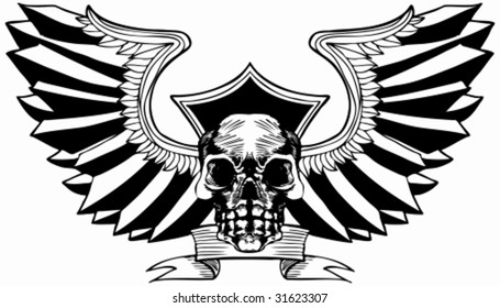 Eagle Wing Skull : Hand drawn crest with banner.