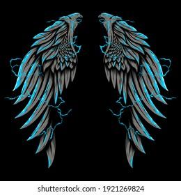 Eagle wing surrounded by lightning illustration