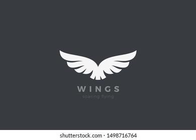 Eagle Wings Logo design vector template. Luxury corporate heraldic flying Falcon Phoenix Hawk bird Logotype concept icon.
