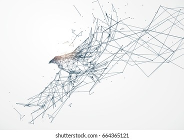 Eagle wings, points, lines and connected to form, vector illustration.