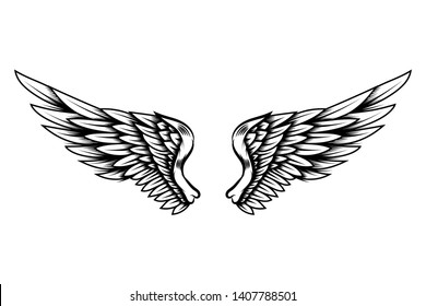 2e239a185 Eagle wings in tattoo style isolated on white background. Design element  for poster, t