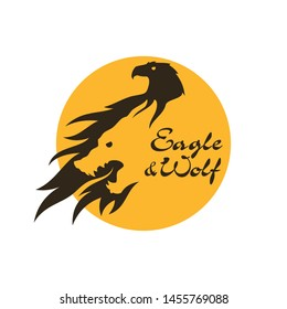 Eagle and wolf silhouette cut out vector icon