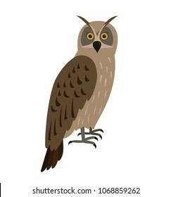 Eagle-owl bird icon on white background. Vector illustration.
