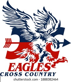 eagles cross country team design with mascot head for school, college or league