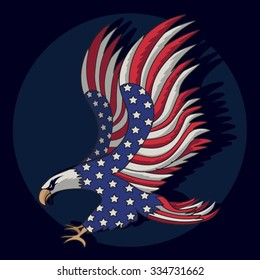 Eagles flag american illustration, t-shirt graphics, vectors