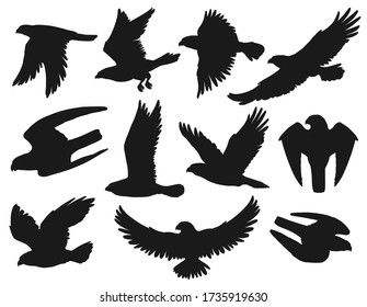 Eagles and hawks black silhouettes set, vector wild flying birds outspread wings, swoop down to catch prey, hunting. Heraldic eagles with attacking claws, american patriotic symbols, monochrome emblem