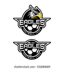 Eagle's head logo for a soccer team. Vector illustration.