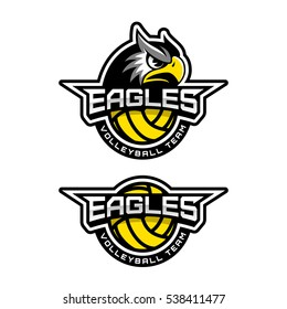 Eagle's head logo for a volleyball team. Vector illustration.