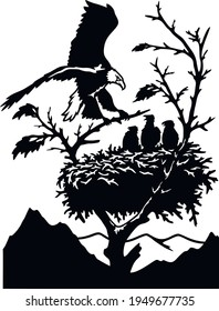 Eagles Nest - Wildlife Stencils - Freedom Eagle Silhouette, Wildlife clipart isolated on white