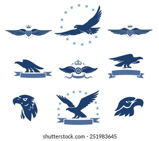 Eagles Silhouettes and Winged Insignias Set