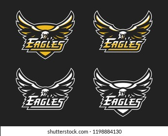 Eagles sports logo template. Vector illustration, emblem and badge design.