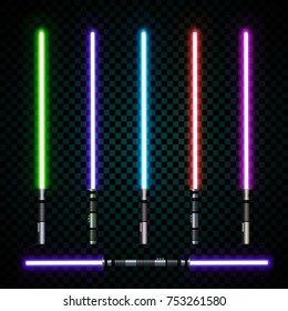 ealistic light swords. crossed light sabers, flash and sparkles. Vector illustration isolated on transparent background