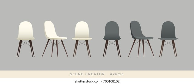 Eames chair variations. Isolated objects. Interior scene creator set.