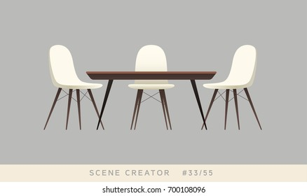 Eames chairs and dining table. Isolated objects. Interior scene creator set.