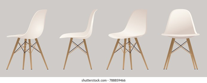 Eames chairs, isolated objects, vector chair.