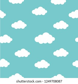 eamless background with white clouds. Vector illustration. Cartoon weather wallpaper.