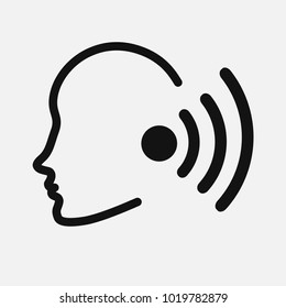 ear canal outline icon image for hearing or listening loss
