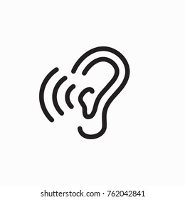Ear & ear canal outline icon image for hearing or listening loss