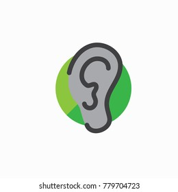 Ear - ear canal outline icon image for hearing or listening loss