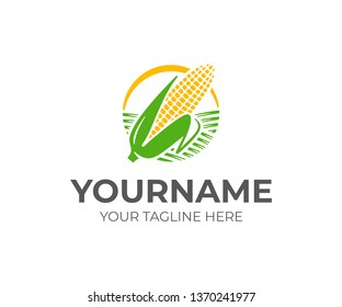 Ear of corn logo design. Maize crop vector design. Corn farming logotype