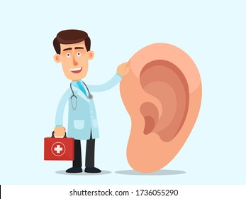 Ear doctor. The physician, specialist holds a big sign - human ear. Vector illustration, flat design, cartoon style, isolated background.