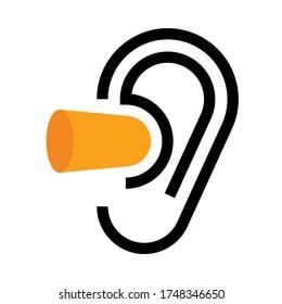 Ear and earplugs. Noise symbol isolated on white background