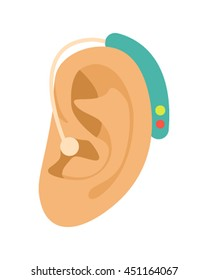 Ear Hearing Aid icon in cartoon style isolated on white background. flat vector illustration