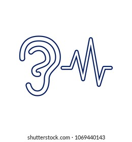 Ear hearing sound sign. Vector. Flat style black icon on white.