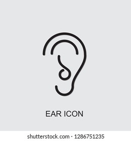 ear icon . Editable outline ear icon from medicine. Trendy ear icon for web and mobile.