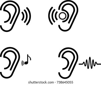 Ear icon on transparent background. Vector illustration.